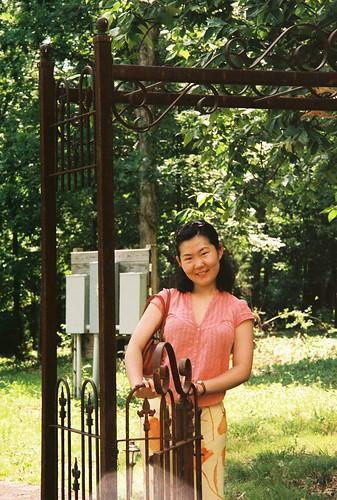 Sha and gate at Cave Ridge winery