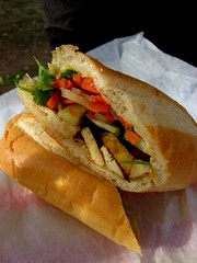 Banh mi chay (veggie banh mi, with lemongrass tofu) (Boots in the Oven) Tags: truck austin bread restaurant vietnamese texas tofu sandwich baguette vegetarian carrot daikon trailer lemongrass cilantro pickle banhmi chay lulubs bollilo
