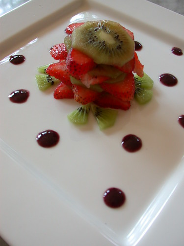 Fruit Tower with Berry Coulis