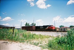 Canadian National RR freight train waiting on a hold order. Schiller Park Illinois. July 2008.