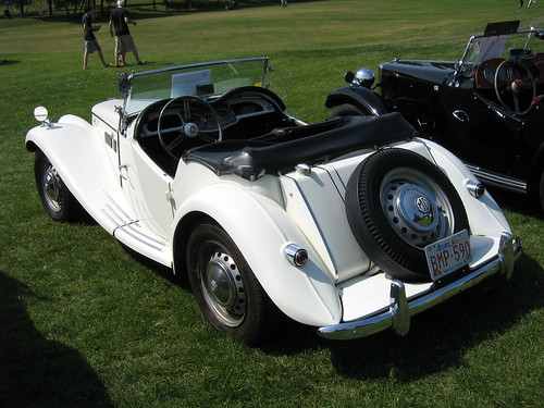 White classic model MG TF, retro model roadster MG TF, picture of MG TF