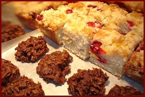 Raspberry Marzipan Coffee Cake and Chocolate Macaroons