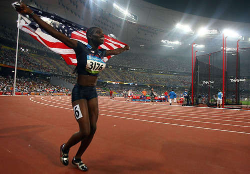 Dawn Harper (USA) celebrates winning the Women's 110m Hurdles Final