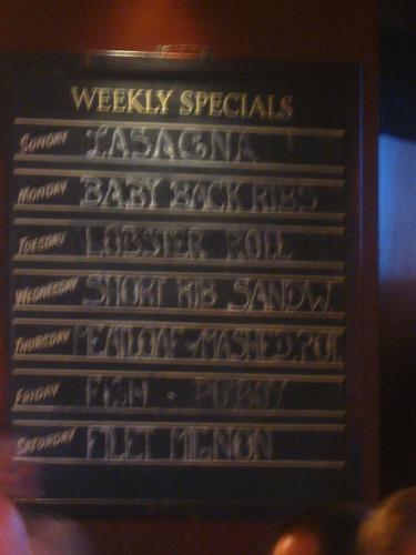 PJ Clarkes Weekly Specials