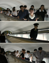 Pyongyang Subway. (ShanLuPhoto) Tags: light people underground subway metro elevator north decoration korea fancy pyongyang dprk