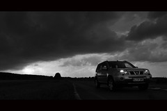 Out of Hell (Hans van Reenen) Tags: road sky bw car germany dark deutschland fav50 fav20 fav30 underway niederrhein fav10 kranenburg fav40 fav60 fav70 gx100 20080814