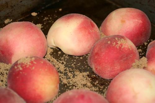 Cut peaches in pan