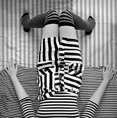 I walk the line (JenniPenni) Tags: bw socks mod 60s stripes skirt symmetry 365 conceptual asymmetry overtheexcellence