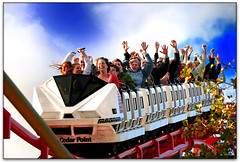 Hands Up! (vw4ross) Tags: blue sky clouds train fun hands arms action tracks smiles amusementpark rides rollercoaster coaster cedarpoint magnum riders d90 magnumxl200 nikkor18200mmvr nikond90 exposurecleveland101808