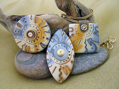 Mixed Media Electric (julie_picarello) Tags: house yellow beads wire julie jewelry clay sterling rivet polymer gane mokume picarello
