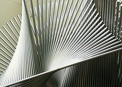 b6537 Fanfare in Steel (tengtan (away awhile)) Tags: sculpture detail lines closeup modern outdoors fan singapore shiny geometry steel patterns shapes linear thursdaychallenge fanfare orchardroad oberflchen abigfave anglesanglesangles favemegroup3 tengtan