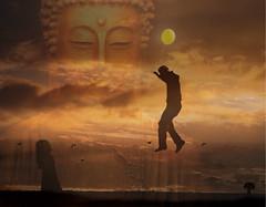 Innocence (h.koppdelaney) Tags: man art childhood digital photoshop gold flying energy child spirit buddha balloon free happiness buddhism philosophy diamond mind innocence wisdom dharma salvation mythology soe consciousness psyche integration psychology archetype lightful fineartphotos novavitanewlife