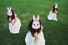 (la_sendi) Tags: rabbit green paper mask clones viola carta maschera masque coniglio