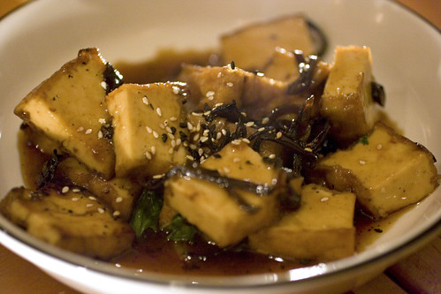 Sautéed tofu, thai basil and wood ears in spicy soy mirin