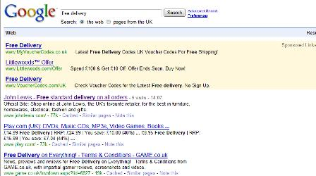 Google UK search results for 'free delivery'