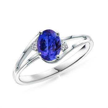 14k White Gold Tanzanite and Diamond Ring (3/5 ct. tw.)