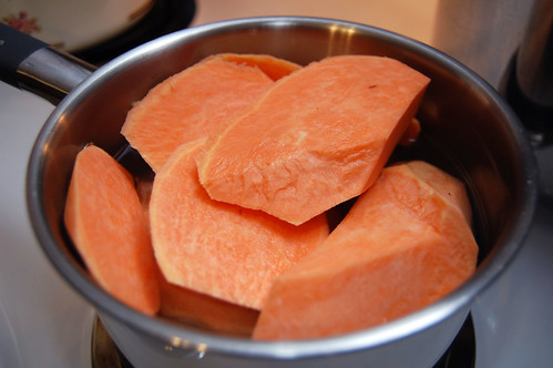 Boiling sweet potatoes in far too small a pot