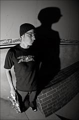 The shadow of Tempster (Antti Lehtinen) Tags: shadow portrait bw blackwhite nikon indoor fisheye tokina skatepark d200 jyvskyl halli 1017 miikka sb800 tempster