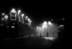 A foggy night in Oldham (Michael Ashton) Tags: uk england fog manchester haze eyes pub foggy spindles oldham through georgestreet towncentre g10 brewerytavern manchester canong10 thebestofcanonpowershotg10 martintheroadhog potd