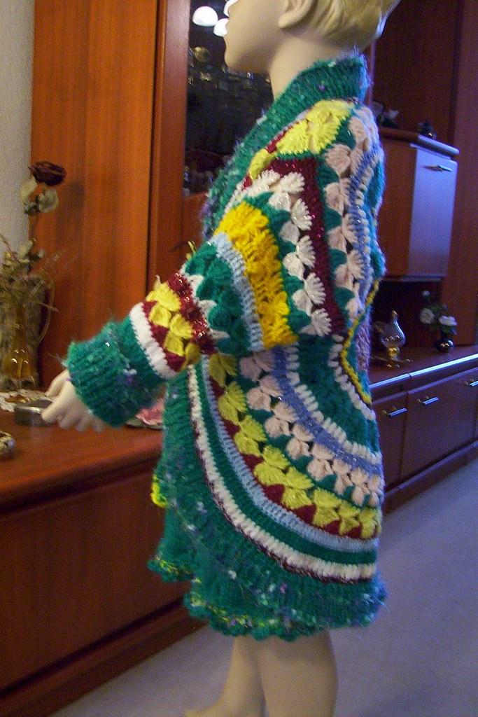 Strick - Häkel - MÄDCHEN - Mantel bzw. Jacke   handmade  NEU UNIKAT Umfang 70cm