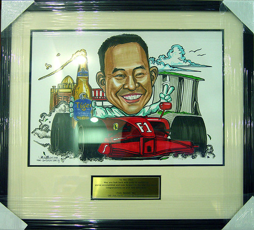 caricature for APB F1 Tiger Beer framed