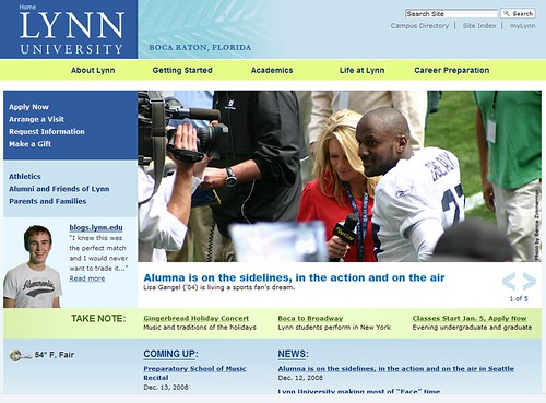 Screenshot of the Lynn University Home Page