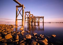 Aberdour Pier in the evening light (Semi-detached) Tags: light sky beach water lens evening pier nikon rocks warm long exposure angle fife tripod wide sigma wideangle structure estuary forth 1020mm 1020 firth burntisland aberdour
