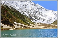 The Lake... (Suh@il) Tags: travel panorama mountain lake snow water canon boat glaciers kaghan naran suhail jeepsafari northernarea 1855kitlens 40d lakesaifulmalook suhailakhtar canon40d northernareaofpakistan