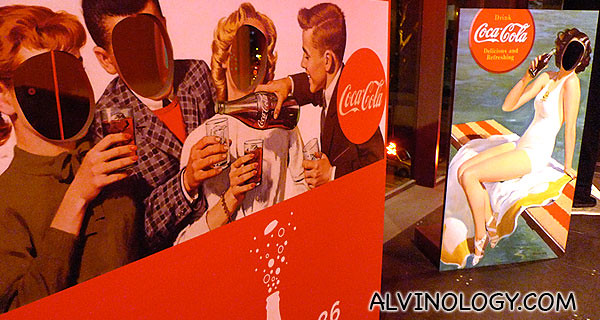 Vintage Coca-Cola billboards for guests to pose with