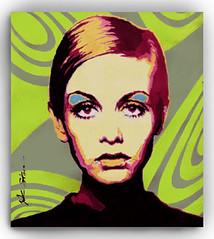 TWIGGY (popartdks) Tags: portrait green art painting mod 60s acrylic hippy popart 1960s hip psychedelic twiggy fashionmodels celebrityportraits