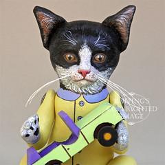 """""""Ziggy"""" Original Tuxedo Kitten Folk Art Doll by Elizabeth Ruffing"""