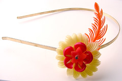 Yellow, Red and Orange Vintage Flowers Headband