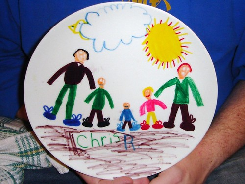 Chris's family, portrayed in plate form