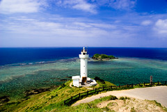 The lighthouse which watches paradise (takay) Tags: sea lighthouse japan landscape paradise bluesky well okinawa  beautifulscenery ishigaki  ishigakijima yaeyama ishigakiisland   emeraldgreen   hirakubosaki mywinners takay fiveflickrfavs