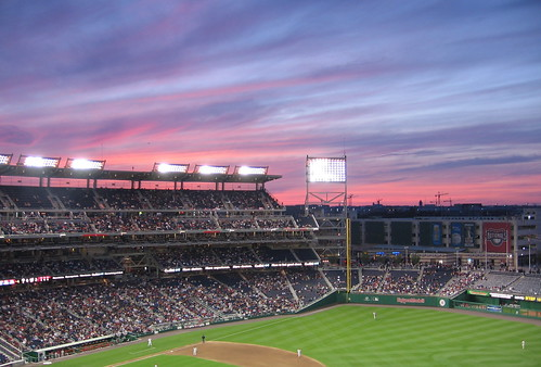 sunset at the stadium
