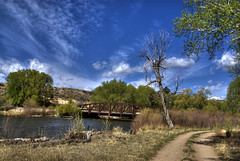 Colorado Landscape (Thad Roan - Bridgepix) Tags: bridge blue trees sky water grass clouds river landscape colorado steel explore salida dirtroad hdr arkansasriver bridging belleview chaffeecounty photomatix 200805 bridgepixing ponytruss bridgepix countyroad166bridge cr166bridge