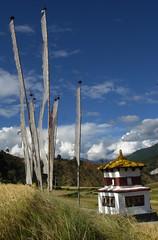 2007-10 Bhutan 747 (blogmulo) Tags: travel rice bhutan stupa prayer valle buddhism flags viajes valley chorten banderas arroz 2007 budismo oracion punakha aplusphoto blogmulo