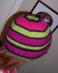 Finished stripey pink/green/purple Portland hat
