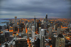 Land of Giants (Len Langevin) Tags: travel chicago skyline nikon bravo skyscrapers searstower trumptower urbanlandscape d300 blueribbonwinner