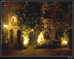Night Lights (rjt208) Tags: lighting uk greatbritain windows england house building tree brick public stone night canon eos lights bush pub long exposure shadows britain stonework hill explore lantern westmidlands pathway brickwork walsall lyndon artisticexpression 400d mywinners anawesomeshot rjt rjt208 quanit