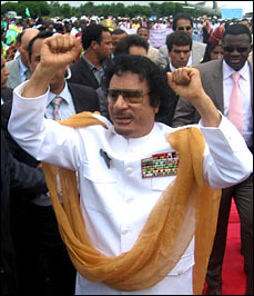 Libyan leader Moammar Ghaddafi shown here during a state visit to Togo on June 18, 2008. by Pan-African News Wire File Photos