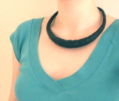 Dark brown felted necklace with turquoise accents