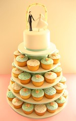 April and Simon's Wedding Cupcake Cake (hello naomi) Tags: wedding roses groom bride cupcakes figurines tiered weddingcupcakes
