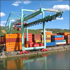 Container Port - Stuttgart, Germany (Batikart ... handicapped ... sorry for no comments) Tags: blue sky mountain reflection port canon germany square geotagged deutschland pier vineyard europa europe industrial colours stuttgart harbour himmel container colourful blau hafen industrie spiegelung neckar farben weinberg habour canonpowershot a610 industrialarea containerport badenwrttemberg swabian industriegebiet canonpowershota610 10faves containerhafen viewonblack stuttgartsd
