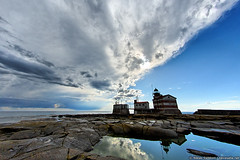 Clearing skies above Mrket lighthouse (taivasalla) Tags: blue sea summer sky cliff cloud lighthouse reflection water pool clouds wow suomi finland geotagged puddle island evening rocks kallio sweden horizon wideangle calm balticsea cliffs fisheye islet meri vesi itmeri ilta kes luoto aland saari sininen land pilvi heijastus pilvi taivas ahvenanmaa kesilta ruotsi majakka lammikko nikond200 tyyni terrascania laajakulma weatherphotography horisontti ltkk alandislands tokina1017mm landislands ahvenanmeri mrket kalansilm