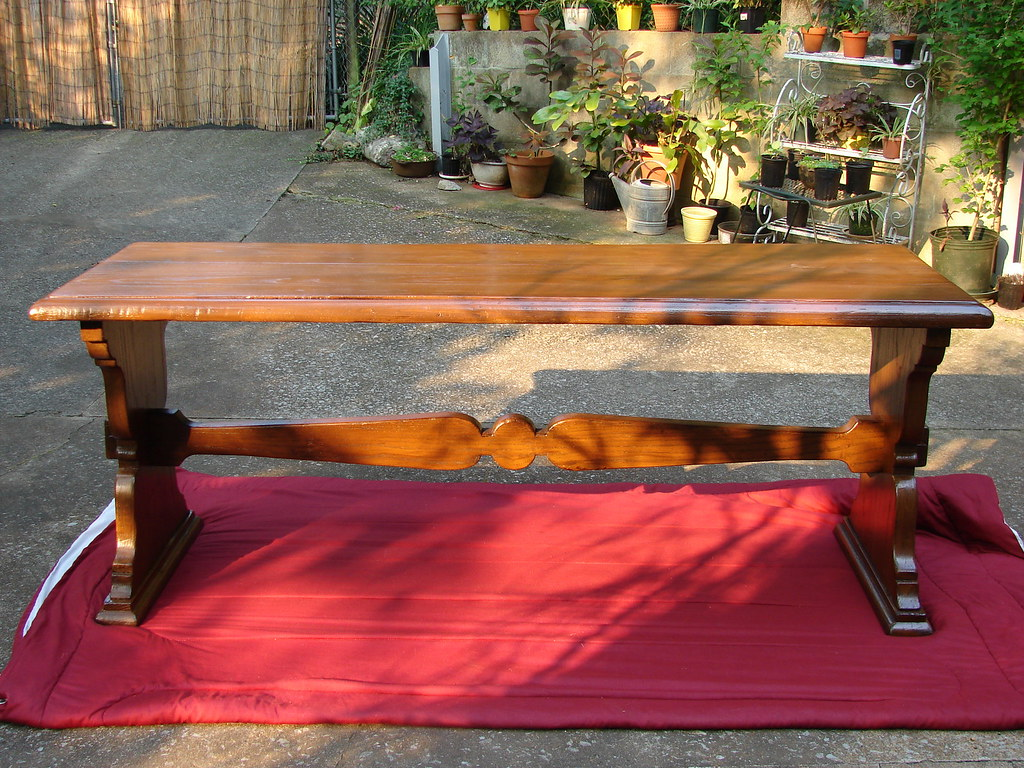 Stripped and Refinished Oak Trestle Table #1 of 5 Shots about this piece~ Explored!