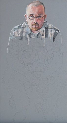 In progress photo of colored pencil portrait entitled Self Portrait V.