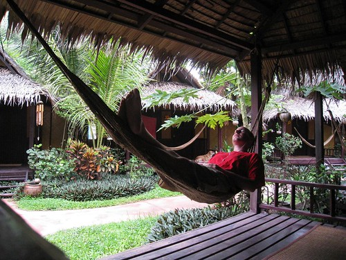 Enjoying my bungalow's hemp hammock