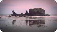 el tunco (Celina Morales) Tags: reflection beach water photoshop vintage sand playa arena elsalvador edition rocas piedra eltunco