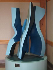 "Title: ""Torque""Sculptor: Raymond I. JacobsonAccessible to Public: yes, indoorsLocation: Northfield Senior CenterOwnership: Northfield Senior CenterMedium: Steel and lacquerDimension: 6.5 feet highProvenance: gift from sculptorYear of Installation: 2001Physical Condition: good"